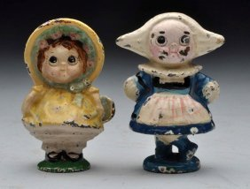 Lot Of 2:cast Iron Dolly & Dutch Girl Paperweights