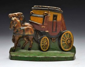 Cast Iron Stagecoach & Team Of Horses Doorstop.