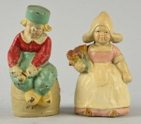 Lot Of 2: Dutch Boy And Girl Cast Iron Still Banks