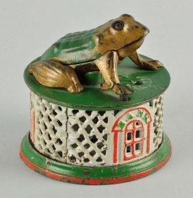 J. & E. Stevens Frog On Lattice Mechanical Bank.