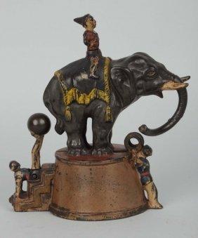 Elephant And Three Clowns Mechanical Bank