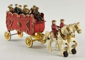 Cast Iron Kenton Horse Drawn Overland Circus Toy.