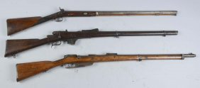 (c) Lot Of 3: Bolt Action Rifles & Musket.