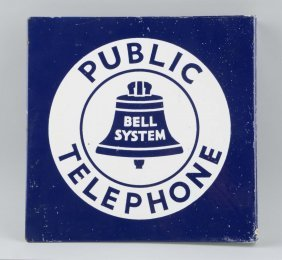 Porcelain Public Telephone Flange Sign.