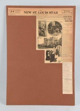 Adolphus Busch Funeral Newspaper Cutout.