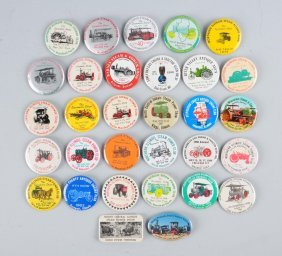 Lot Of 20+: Pin Backs From Steam Power Shows.