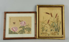 Lot Of 2: Painting And Embroidery On Silk.