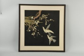 Lot Of 3: Japanese Silk Bird Pictures.
