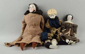 Lot Of 3: Antique China Head Dolls.