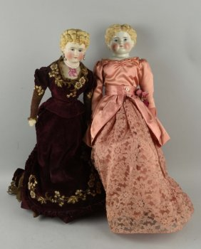Lot Of 2: Large Antique German China Head Dolls.