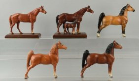 Lot Of 5: Pairs Of Cast Iron Horse Figural Iron.