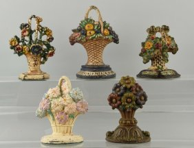 Lot Of 5: Cast Iron Flower & Fruit Doorstops.