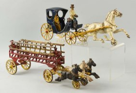 Lot Of 2: Cast Iron Kenton Horse Drawn Toys.