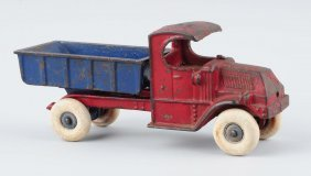 Cast Iron Champion Red & Blue Mac Dump Truck.