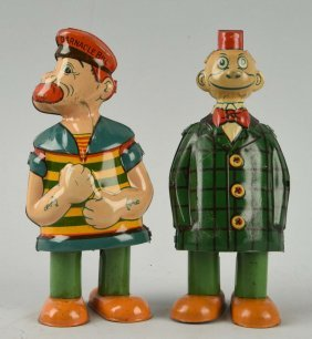 Lot Of 2: Chein Tin Character Wobbler Toys.