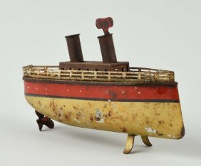 Tin Wind-up Boat With Red Stripe.