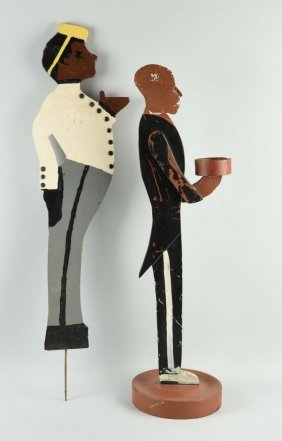 Lot Of 2: Black Americana Wooden Standing Butlers.