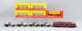 Lot Of 6:marklin Diesel Locomotive & Freight Cars.
