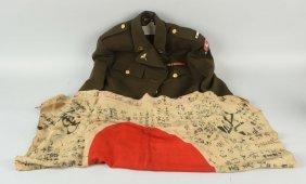 Lot Of 2: Japanese Flag & Wwii Uniform.