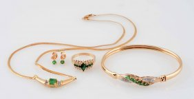 Lot Of 4: Emerald Necklace Ring Earrings& Bangle.