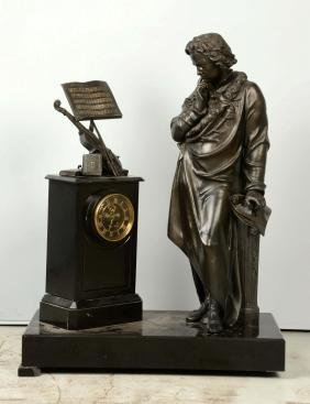 French Plated Bronze & Slate Figural Clock.