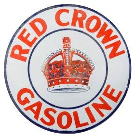 Red Crown Gasoline Porcelain Sign.