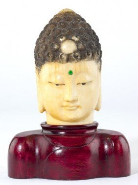 Asian Carved Ivory Buddha Head