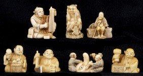 Group Of Seven Japanese Ivory And Bone Netsuke