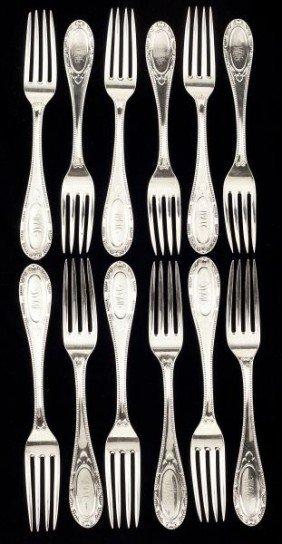 Set Of Twelve American Coin Silver Forks