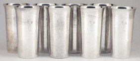 Set Of Eight Sterling Silver Tumblers By Randahl
