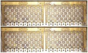 Chinese Bronze Metal Screen, Four Hanging Panels