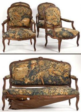 Five Piece Louis XV Style Parlor Suite