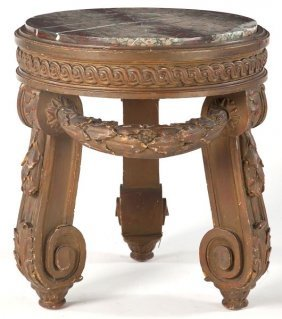 Italian Round Low Table With Marble Top