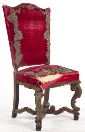 Italian Upholstered And Carved Side Chair