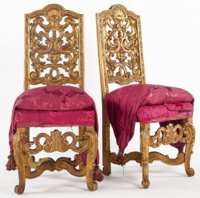 Pair Of Florentine Carved Gilt Wood Side Chairs