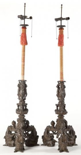Pair Of Italian Renaissance Bronze Floor Lamps