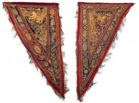 Pair Of Persian Embroidered Panels