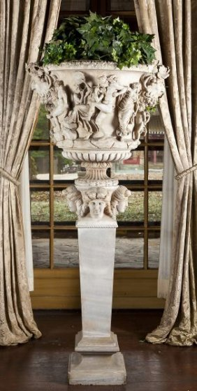 Pallazo Carrara Marble Urn And Pedestal