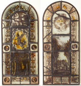 Pair Of German Stained And Leaded Glass Panels