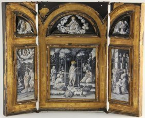 Important Limoges Triptych Panel