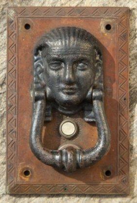 Figural Door Knocker And Bell