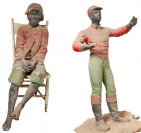 Two Cast Concrete Black Americana Figures