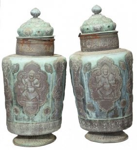 Pair Of Indonesian Copper Temple Jars