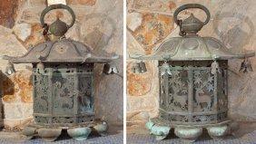Pair Of Japanese Bronze Lanterns