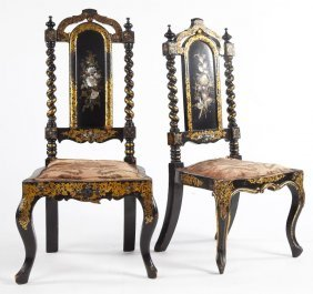 Pair Of English Black Lacquered Low Side Chairs