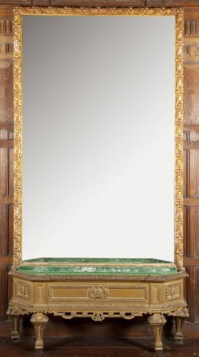 Italian Baroque Style Pier Mirror With Console