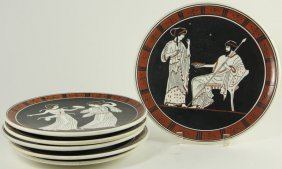 Six Companion Greek Plates