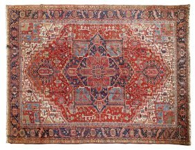 Large Room Size Semi-Antique Heriz Carpet