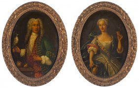 Pair Of Portraits, Att. Nicolas De Largilliere
