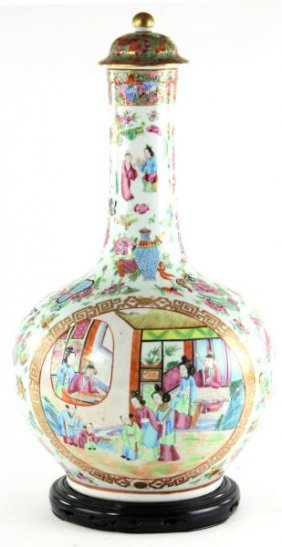 Chinese Rose Mandarin Bottle With Cover
